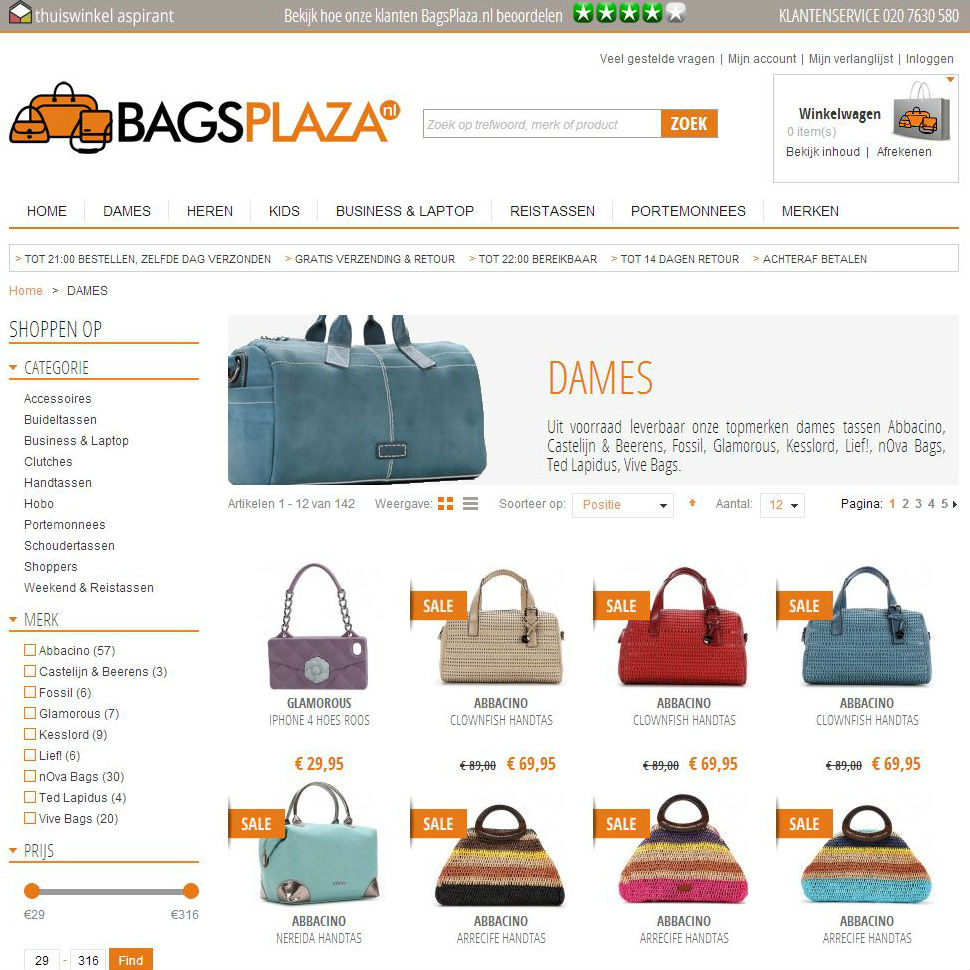 Bagsplaza categoriepagina
