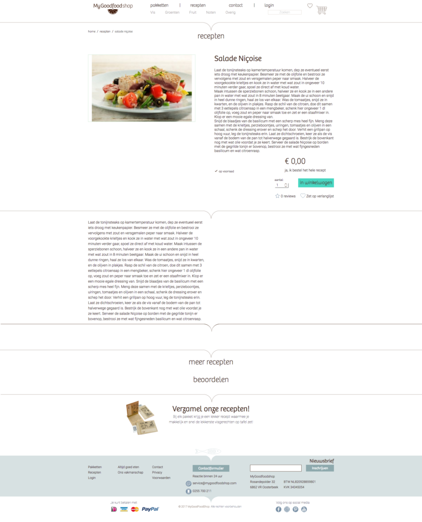 My good food product page